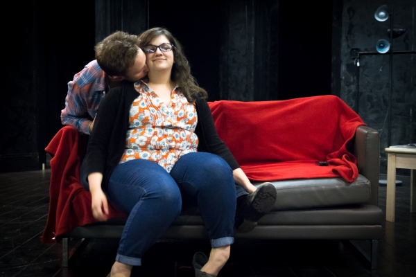 Josh Bywater and Anne Joy in rehearsal for Fat Pig