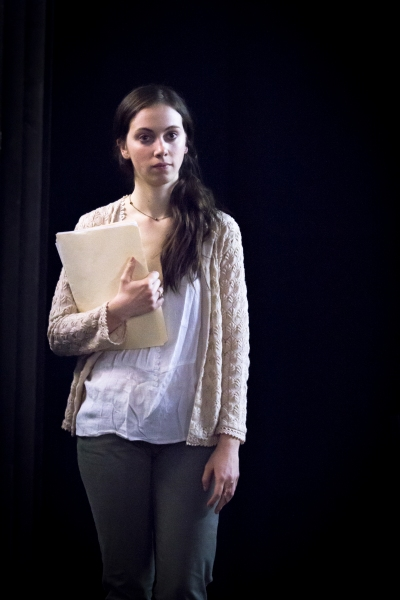 Baize Buzan in rehearsal for Fat Pig