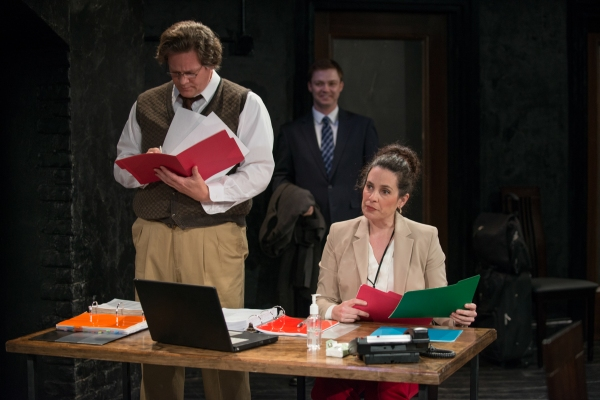 James (John Gray), Lowell (Nicholas Harazin) and Irene (Amy J. Carle) in The Internationalist