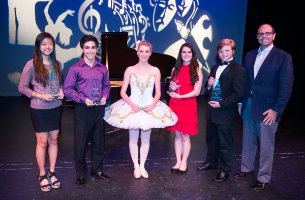 MCC Governing Board Chair Kevin Dent (on far right) with first-place winners of the 2013 James C. Macdonald Scholarship Competition (from left) Jennie Kim (Visual Arts), Arman Nasrinpay (Instrumental Music), Kristen Wolaver (Dance), Kathleen Welch (Theatr