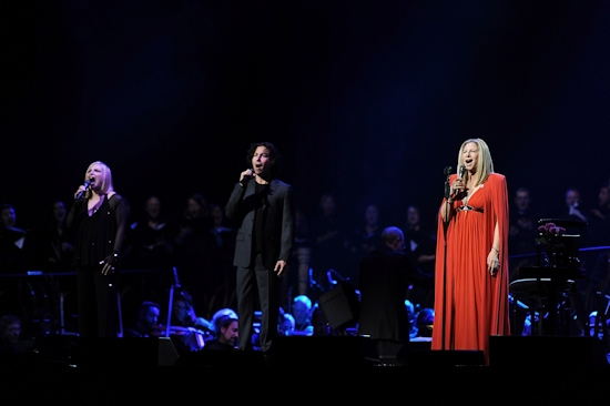 Barbra Streisand performs with her sister  Roslyn Kind and son Jason Gould