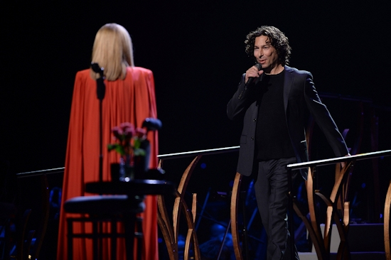 Barbra Streisand performs on stage with her son Jason Gould