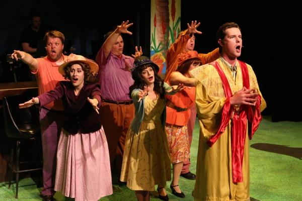 Nicholas Kelly, Marcy Wiegert, Christopher Strawhun, Chrissy Young, Kimi Short Joel Hackbarth, and Ryan Foizey as Bishop Fulton J. Sheen, singing ''Slippery Slope''