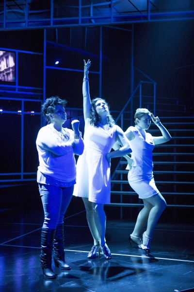 Girlfriends Marta (Carolyn Cole; left), Kathy (Jamie Eacker; center), and April (Madeline Botteri; right) sing 'You Could Drive A Person Crazy'