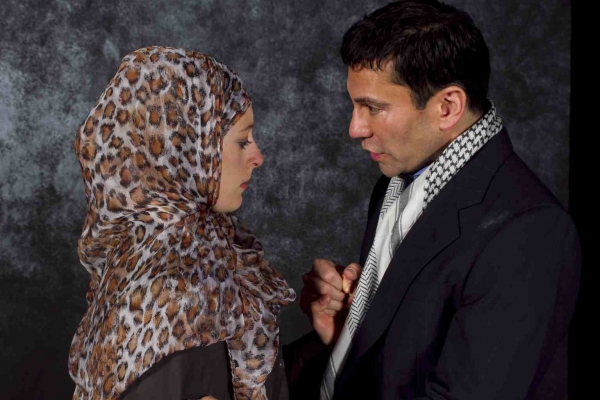 Kim Stephenson as Woman and Rudy Guerrero* as Man and in ''Seven Palestinian Children'' by Deborah S. Margolin
