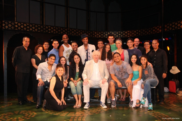 The cast and band of East West Players' production of CHESS meet award-winning lyricist Sir Tim Rice.