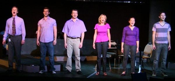 "The cast of Next to Normal (Richard Payton, Nathan Larkins, John DeMerell, Diane Hill, Aubrey Fink, Rusty Daugherty) sings ""There will be light!"""