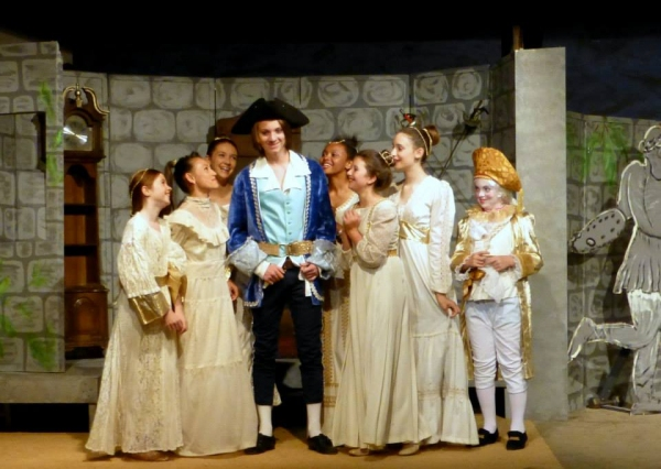 Paysanne (Anthony Olivas) is a hit with the ladies at court (from left) Melana Dix, Tyler Cable, Emilia Zielinski, TaiJonna Boone, HanaLina Woolley, Avalon Silver, and The Chaperone,  Miller Vaughn.