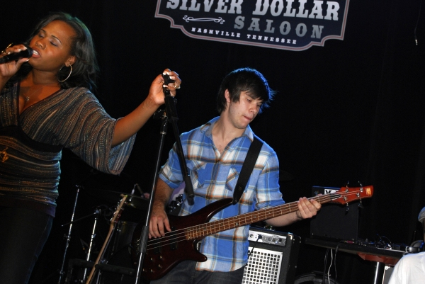 Singer Adrianna Freeman and bass player Theo Hartlett on stage at the Silver Dollar Saloon.