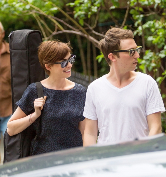 Mandatory Credit: Photo by MediaPunch Inc / Rex USA (1330143c)Anne Hathaway''Song One'' on set filming, New York, America - 11 Jun 2013