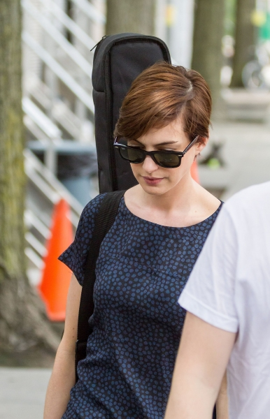 Mandatory Credit: Photo by MediaPunch Inc / Rex USA (1330143d)Anne Hathaway''Song One'' on set filming, New York, America - 11 Jun 2013