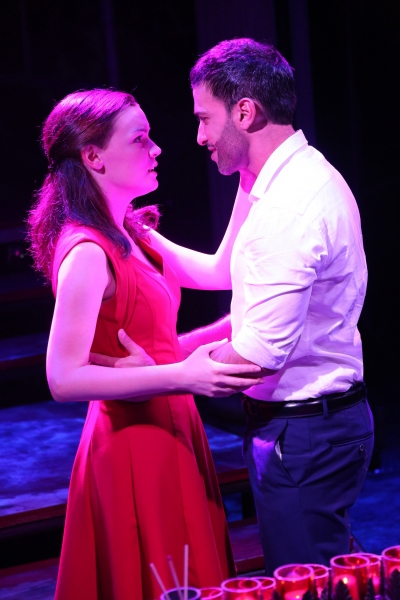 Jennifer Damiano and Haaz Sleiman in the Public Lab musical Venice, with book by Eric Rosen, music by Matt Sax, lyrics by Matt Sax and Eric Rosen, additional music by Curtis Moore, choreography by Chase Brock and directed by Eric Rosen, running at The Pub