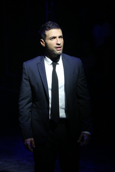 Haaz Sleiman in the Public Lab musical Venice, with book by Eric Rosen, music by Matt Sax, lyrics by Matt Sax and Eric Rosen, additional music by Curtis Moore, choreography by Chase Brock and directed by Eric Rosen, running at The Public Theater at Astor