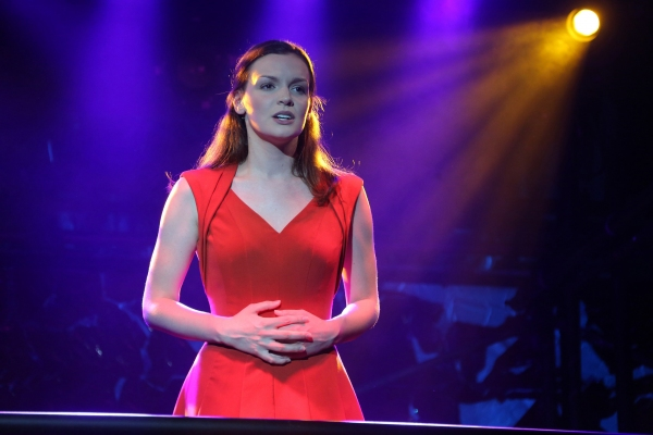 Jennifer Damiano in the Public Lab musical Venice, with book by Eric Rosen, music by Matt Sax, lyrics by Matt Sax and Eric Rosen, additional music by Curtis Moore, choreography by Chase Brock and directed by Eric Rosen, running at The Public Theater at As