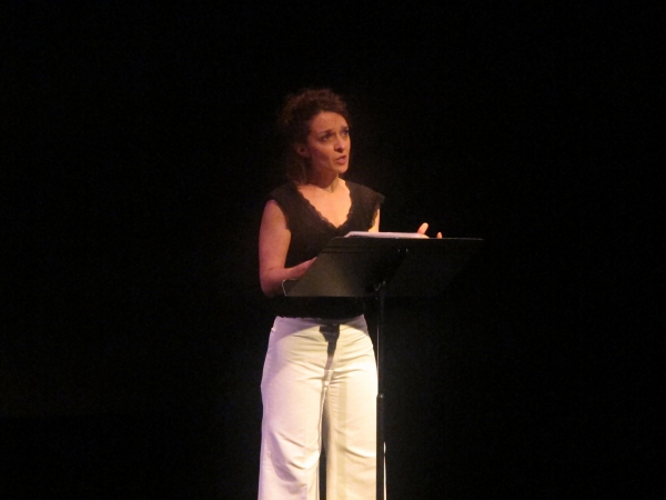 Cristina Spina reads an excerpt from ''Una Madre'' in a tribute to recently deceased playwright Franca Rame.