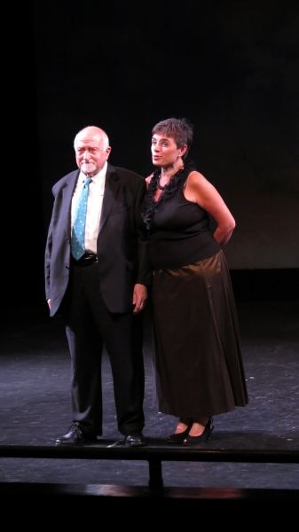 Famed playwright Mario Fratti embraces Laura Caparotti, Founder and Artistic Director of ''In Scena! Italian Theater Festival NY,'' a celebration of Italian theatre taking place in all five boroughs.