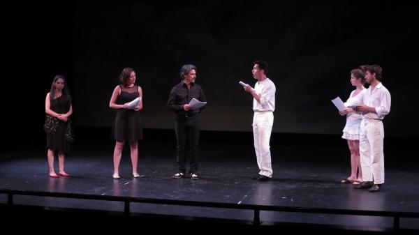 Nicole Cimino, Ilaria Ambrogi, Francesco Foti, Francesco Andolfi, Giulia Bisinetta, and Iacopo Rampini perform an original piece of ''Celebrating Italian Theatre''.
