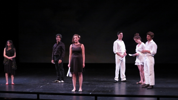 Nicole Cimino, Ilaria Ambrogi, Francesco Foti, Francesco Andolfi, Giulia Bisinetta, and Iacopo Rampini perform an original piece of ''Celebrating Italian Theatre''.