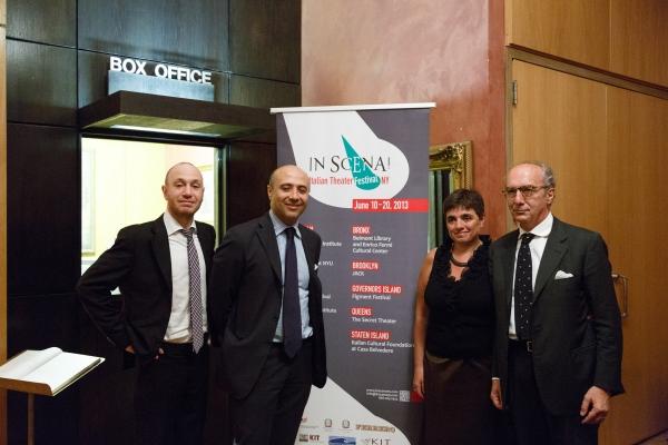 Fabio Troisi (Cultural Atachè of the Italian Institute of Culture), Sabato Sorrentino (Deputy Consul at the General Consulate of Italy), Laura Caparrotti (Founder and Artistic Director of ''In Scena''), and Riccardo Viale (Director of the Italian Insti