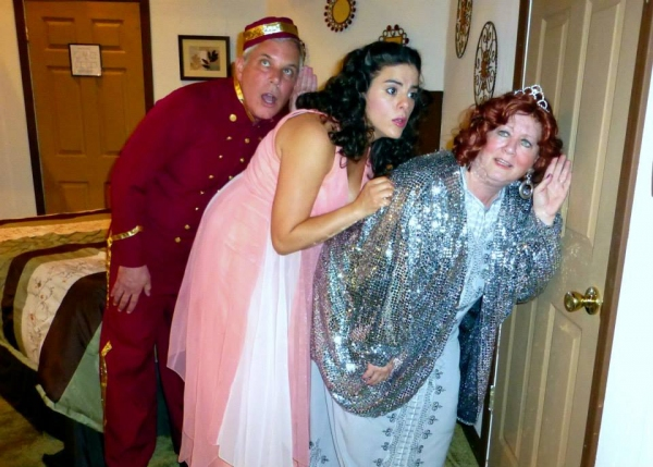 ''Do you hear anything,'' Maggie asks Julia as the Bellhop strains to hear too! (from left: Michael Willens, Samantha Barrios, Susan Goldman Weisbarth)