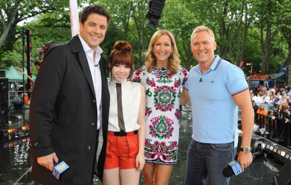 GOOD MORNING AMERICA - Carly Rae Jepsen performs live from Central Park on ''Good Morning America,'' 6/14/13, airing on the ABC Television Network on the ABC Television Network.  (ABC/Donna Svennevik) JOSH ELLIOTT, CARLY RAE JEPSEN, LARA SPENCER, SAM CHAM