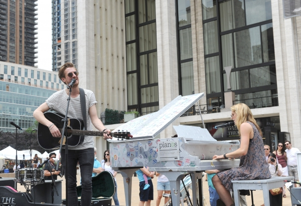 Arthur Darvill and Joanna Christie, of ONCE, the Tony Award-winning musical, kick off a day of free concerts as part of the celebration of ''Art for All'' and the conclusion of the Sing for Hope Pianos project.