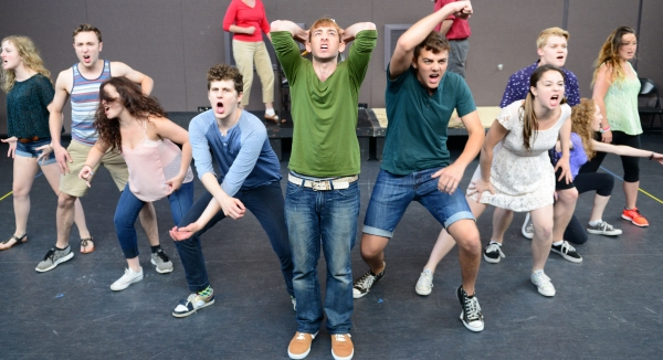 The company of SPRING AWAKENING; Center, (green sweater), Phil Tayler (Melchior) Photo
