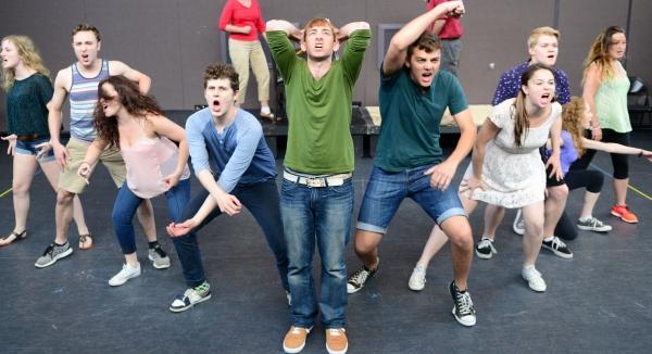 The company of SPRING AWAKENING; Center, (green sweater), Phil Tayler (Melchior)