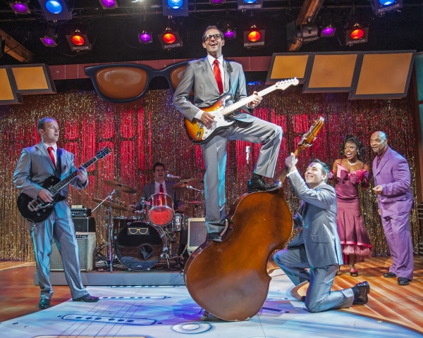 Sean Riley as Nikki Sullivan, Justin Rugg as Jerry Allison, Todd Meredith as Buddy Holly, Nathan Yates Douglass as Joe B. Mauldin, with Ayana Major Bey and Lanny Mitchel as Apollo Performers