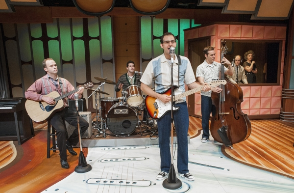 Sean Riley as Nikki Sullivan, Justin Rugg as Jerry Allison, Todd Meredith as Buddy Holly, Nathan Yates Douglass as Joe B. Mauldin, with Joel Stigliano as Norman Petty and Ashley Pankow as Vi Petty
