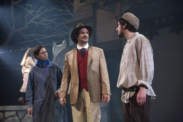 Bronny Levy (Dvoira), Gab Desmond (Benya Krik), and Jonathan Eidelman (Lyovka)