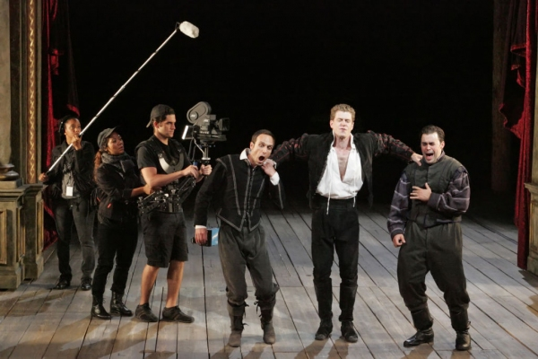 Erin Elizabeth Adams, Whitney Wakimoto and Sean-Michael Wilkinson as the Film Crew, Jay Whittaker as Guildenstern, Lucas Hall as Hamlet and John Lavelle as Rosencrantz