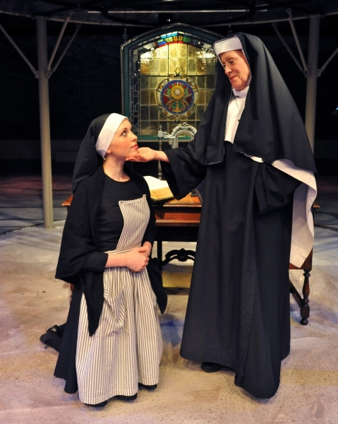 Maria (Aubrey Sinn) and The Mother Abbess (Karen Murphy)