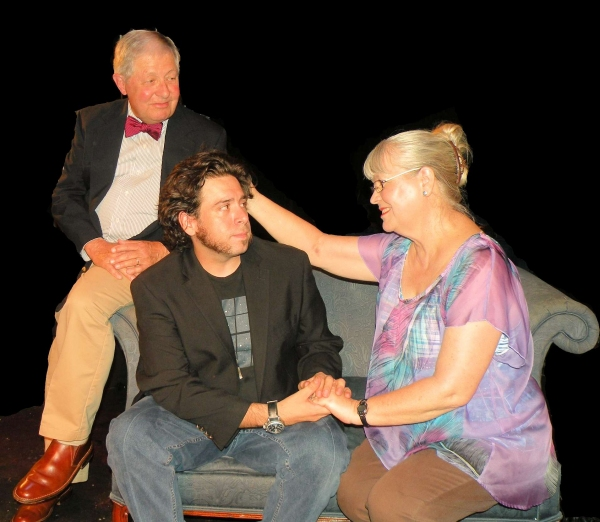 Lawrence (Robert Lowe) and Roxanne (Tanya Terry) discuss events of the past with their son Paul (Scott McWhirter) in ''Identity'' by Dale Griffiths Stamos.