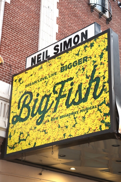 Up on the marquee big fish for Big fish broadway