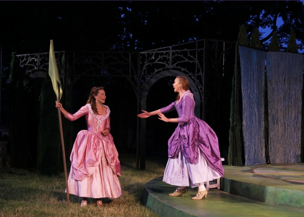 Rosalind played by Caralyn Kozlowski and Celia played by Maria Tholl.