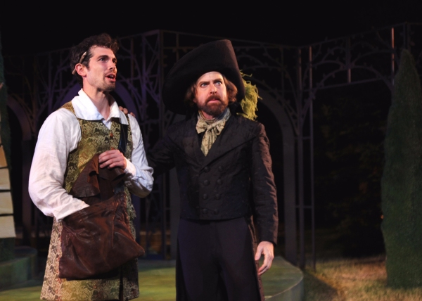 Orlando, played by Matthew Simpson, meets the melancholy Jaques in the Forest of Arden.