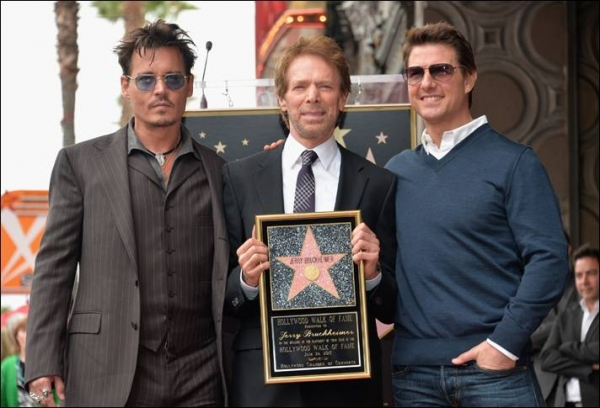 Johnny Depp, Jerry Bruckheimer and Tom Cruise