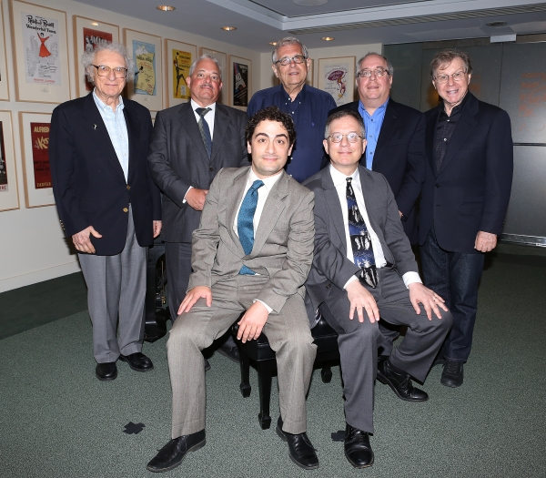 (clockwise from top left) Sheldon Harnick, Elliot Brown, Richard Maltby, Jr., Richard Terrano and Maury Yeston pose for photos with 2013 Kleban Prize winners, Alan Gordon and Daniel Mate