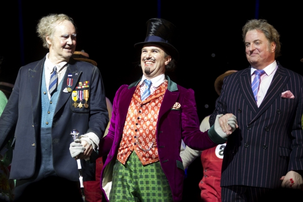 Nigel Planer (Grandpa Joe), Douglas Hodge (Willy Wonka) and Clive Carter (Mr Salt)' Photo