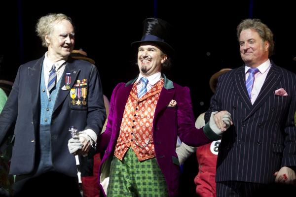 Nigel Planer (Grandpa Joe), Douglas Hodge (Willy Wonka) and Clive Carter (Mr Salt)'