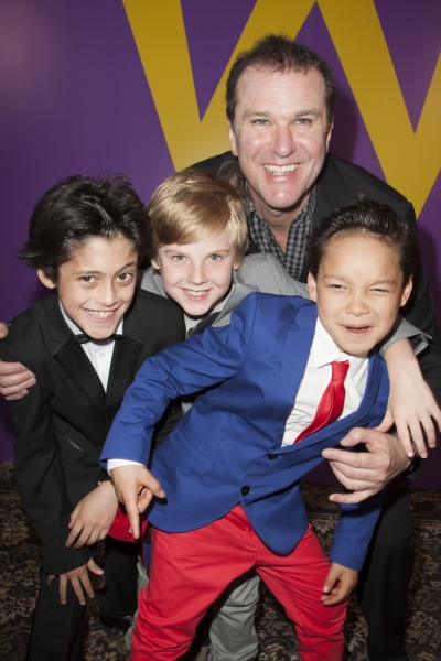 Jay Heyman (Mike Teavee), Adam Mitchell (Mike Teavee), Douglas Hodge (Willy Wonka) and Luca Toomey (Mike Teavee)