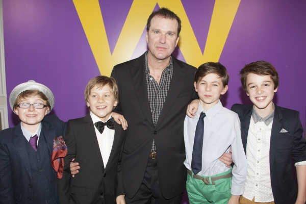 Louis Suc (Charlie Bucket), Jack Costello (Charlie Bucket), Douglas Hodge (Willy Wonka), Tom Klenerman (Charlie Bucket) and Isaac Rouse (Charlie Bucket)