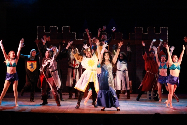 Thomas Cannizzaro (King Arthur), Bethany Fagan (The Lady of the Lake) and Ensemble