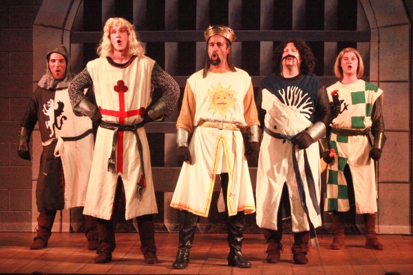 Brandon Cordeiro (Sir Lancelot), Stephen Ecklemann (Sir Galahad), Thomas Cannizzaro (King Arthur), Mark Devey (Sir Bedevere), and Jared Weiss (Sir Robin)