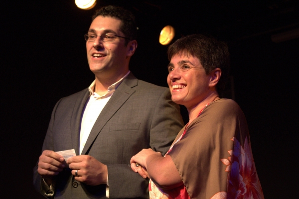 Kevin Albert and Laura Caparrotti introduce the play at The Secret Theatre. Photo by Alex Diana.