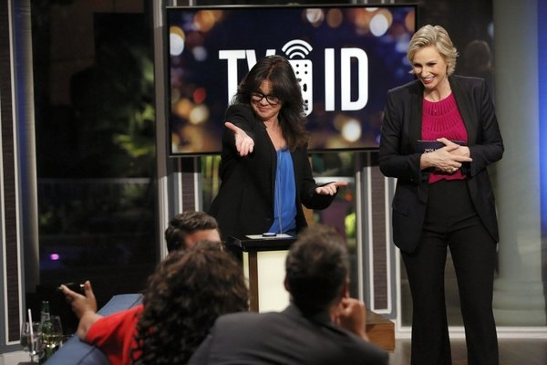 HOLLYWOOD GAME NIGHT -- Episode 106 -- Pictured: (l-r) Valerie Bertinelli, Jane Lynch -- (Photo by: Trae Patton/NBC)