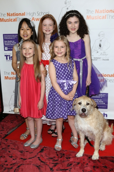 Lilla Crawford with the cast of 'Annie' and dog Sunny