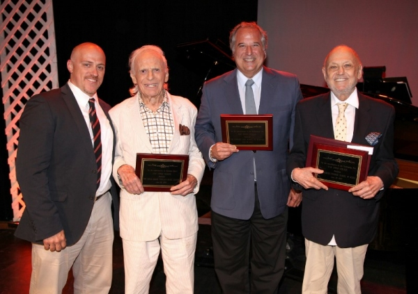 Producer James Beneduce with honorees ,Ervin Drake, Stewart F. Lane, and Charles Stro Photo
