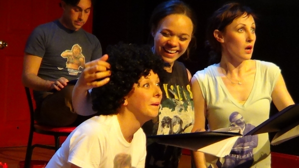 Patti Goettlicher as Dudley, Lexi Rhoades as Curly, and Kathy Searle as Arnold